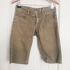 Tan Bermuda Jean Shorts